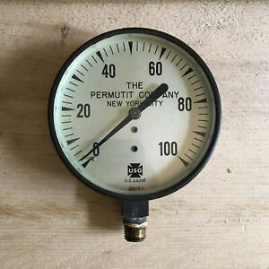 Vintage Usg Us Gauge Permutit Company New York City Nyc 0 100 13843 1 Steam Punk
