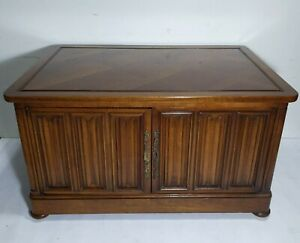 Vintage Drexel Heritage Wooden Record Cabinet Storage Coffee Table Spanish Style