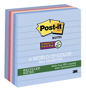 Post it Lined Recycled Notes 4 X 4 Inches Bali Colors 6 Pads With 90 Sheets