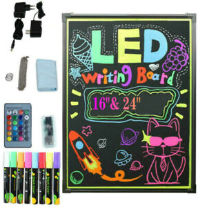 24 x16 Led Dry Erase Menu Board Message Lighted Sign Fluorescent Neon Mu