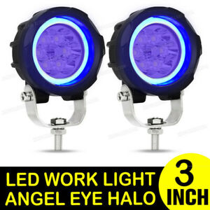 Pair 3 Inch Led Work Light Bar Spot Pods Driving Fog Halo Off Road Atv Truck 4wd