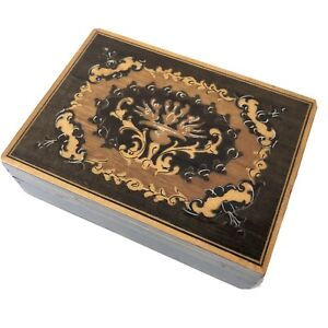 Vintage Marquetry Wood Box Wooden Inlay Inlaid Playing Card Case Holder Small