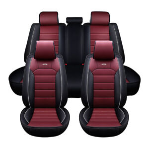Luxury Pu Leather Car Seat Cover Universal 5 Sit Cushion Front Rear Suv Interior