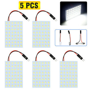 5x White 48smd T10 Ba9s Car Festoon Led Interior Panel Light Dome Map Lamp Bulbs