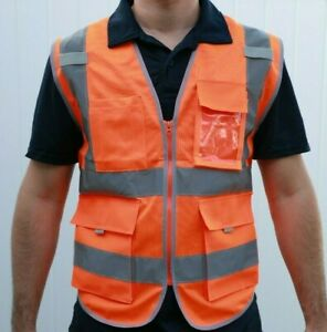 Security Safety Vest W High Visibility Reflective Stripes Orange Lime