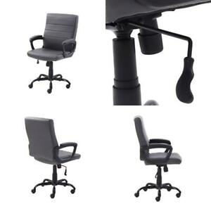 Mainstays Bonded Leather Mid back Manager s Office Chair Gray