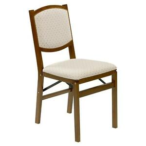 Contemporary Upholstered Back Folding Chair Fruitwood