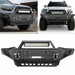 Front Bumper Guard Led Lights Winch Plate D ings For Toyota Tacoma 2005 2015