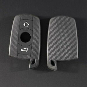 Carbon Silicone Car Key Cover Case Fit For Bmw 1 3 5 6 7 X3 X5 Series Remote Fob