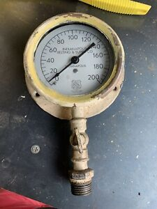 Antique Indianapolis Belting Supply Co Boiler Gauge Ashcroft American