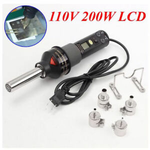 Electronic Lcd Heat Gun Hot Air Gun Welding Tools With 4 Nozzles Ic Smd Desolder