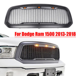 Front Bumper Grille Yellow Led Lights For 2013 2017 Dodge Ram 1500 Raptor Style