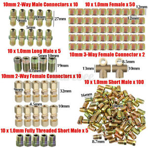 182x Brake Line Fitting Connectors Male Female Kit 2 3 Way 10mm For 3 16 Tube