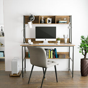 Wood Computer Desk Pc Laptop Table Workstation With Bookshelf Home Office Walnut
