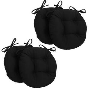16 inch Solid Twill Round Tufted Chair Cushions set Of 4