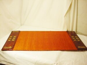 Vtg 36 X 20 Horchow Desk Blotter Pad Mat Italy Leather W Fabric Center Back