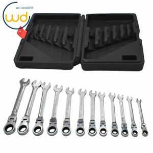 12pc Flexible Head Ratcheting Wrench Combination Spanner Tool Set 8 19mm Metric
