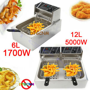 6 12l Electric Deep Fryer Single dual Tank Stainless Steel Commercial Restaurant