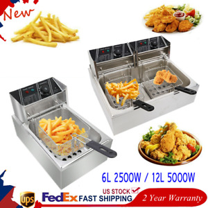 2500w 6l 5000w 12l Electric Deep Fryer Commercial Countertop Basket French Fry