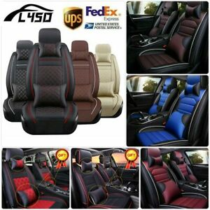Universal Pu Leather Car Seat Cover Set Protector Front Rear W Pillow Waterproof