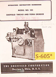 Sheffield 105 Thread Form Grinder Operations And Parts Manual