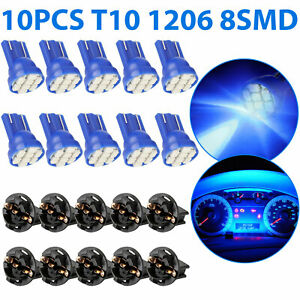 10x Blue T10 168 194 Led Bulb Car Instrument Gauge Cluster Dash Light W Socket