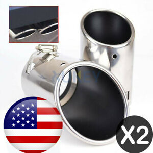 2x Universal Chrome End Silver Stainless Steel Exhaust Tip Tail Pipe 2 5 Inlet