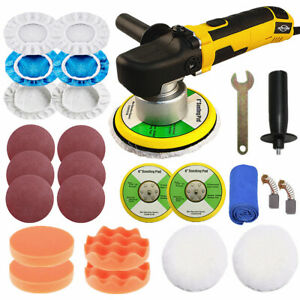 Dual Action Car Polisher Buffer Orbital Polishing Machine 6 Buffing Pad Bonnets