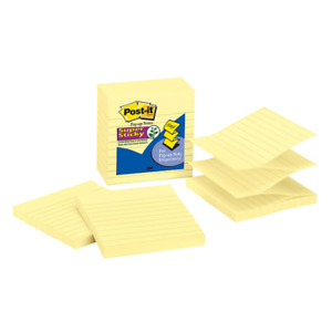 Super Sticky Pop up Notes lined 4 x4 90 Sh 5 pk canary Yw