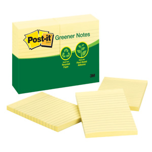 Post it Greener Notes 4 X 6 Lined Canary Yellow Pack Of 12 Pads
