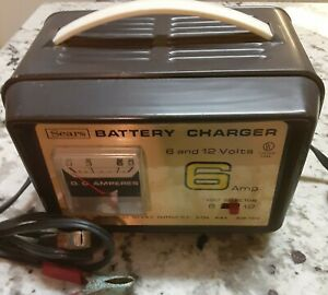 Vintage Sears Battery Charger 6 12 Volt 6 Amp 608 71518 Working Condition