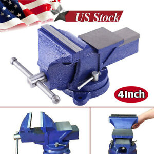 4 Bench Vise With Anvil Swivel Locking Base Table Top Clamp Heavy Duty Vice