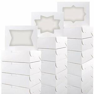 Moretoes 24pcs Cookie Boxes With Window White Bakery Boxes For Cookies Candi