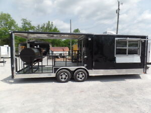 8 5 X 24 Porch Style Black Concession Food Trailer