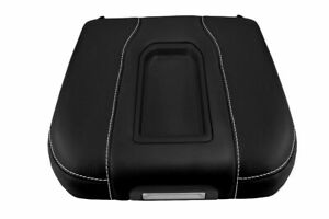 Console Lid Bucket Seat Armrest Cover Leather For Gmc Sierra 19 20 White Stitch