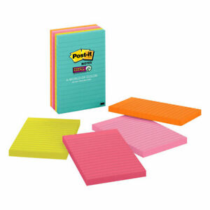 Post it Super Sticky Notes 4 X 6 Miami Collection Lined Pack Of 5 Pads