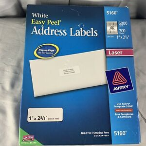 Avery 5160 Easy Peel White Address Labels Box 6000 Partially Used 1 X 2 5 8