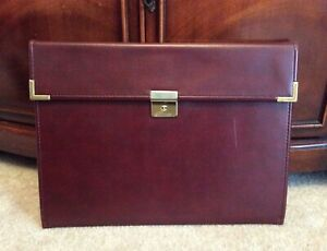 Vtg Hazel Burgundy Leather Document Portfolio Writing Note Pad Folio Carrier