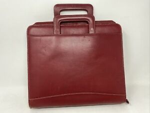 Monarch Franklin Covey Red Leather Zip Binder Planner Handles 1 75 Rings