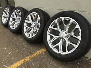 4 22 Chevy Gmc Cadillac Chrome Snowflakes Wheels Rims Tires Tahoe Yukon Gm 5668