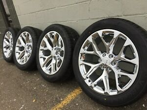 4 New 22 Cadillac Escalade Esv Chrome Snowflakes Wheels Rims Tires 5668 Sierra
