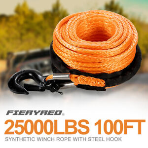 25000lbs 3 8 100 Synthetic Winch Rope Winch Line Cable W Steel Hook Off Road
