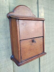 Antique Walnut Ballot Voting Mail Box With Locking Slide Out Drawer Key