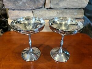 Vintage F B Rogers Silver Plated Champagne Coupe Sherbert Goblet Glasses