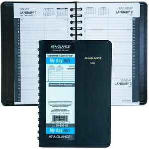 2021 At a glance 70 800 Daily Appointment Book 4 7 8 X 8 Black Cover