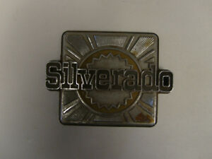 Vintage Chevy Silverado Trunk Emblem Sign Metal Script Logo Deco Antique Square