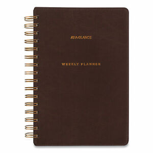 At a glance Distressed Brown Weekly Monthly Planner 8 5 X 5 5 2021 2022