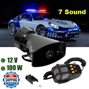 100w 12v 7 Sound Loud Car Alarm Police Fire Horn Siren Pa Speaker Mic System Us