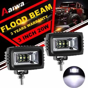 2x 3 Inch Led Work Light Bar Cube Pods Flood Offroad Fog Driving Suv Atv 4wd