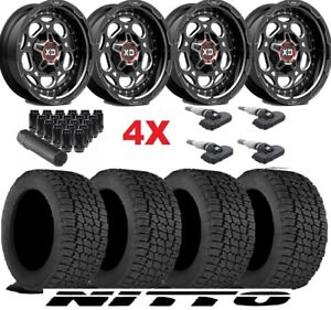 20 Off Road Black Wheels Rims Tires 265 50 20 Xd Nitto At G2 Package Fuel